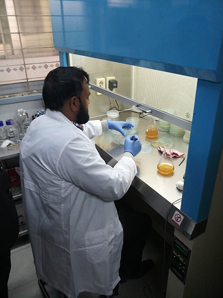 A participant practices the agar plate method for seed health testing.