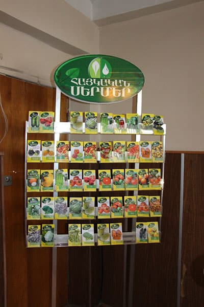 In Armenia, the research institute is producing seed mini-packs of WorldVeg varieties (the 10 packets in the second row from the top are all WorldVeg varieties).